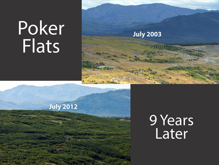 Poker Flats restoration comparision photos 2003-2012