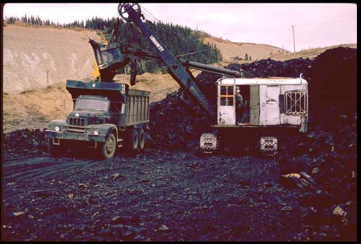 Usibelli Coal Mine Lorain 77 shovel loads a truck with coal