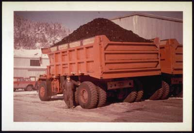 One of the 35 ton Mac Trucks loaded with coal at Usibelli Camp