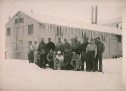 Usibelli Coal Mine crew at Usibelli Camp in front f the Mess Hall
